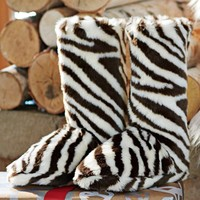Fur Booties - Zebra