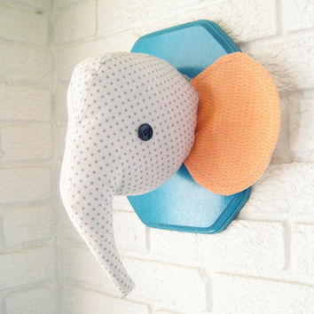 CUSTOM elephant plush wall mount, whimsical nursery decor, faux taxidermy, made to order