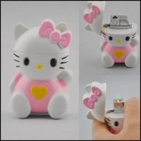 New Lovely Pink Hello Kitty Windproof butane gas cigarette lighter with sound