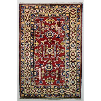 Vintage Persian Ghazni Kazak Oriental Pure Wool Rug, Red Yellow, 4' x 6'