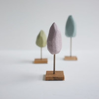 Three little pastel trees - tiny hand carved forest - pastel pink blue and green - spring trees
