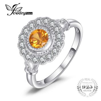 JewelryPalace Retro 1.1ct Created Sapphire Orange Halo Ring For Women 100% 925 Sterling Silver Fine Jewelry Round Luxury Ring