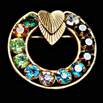 Rhinestone Circle Brooch 12K Gold Filled Signed Van Dell Multi Color