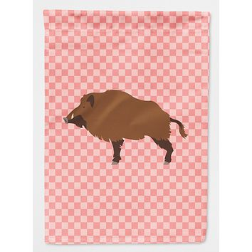 Wild Boar Pig Pink Check Flag Canvas House Size BB7936CHF