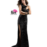 Flirt by Maggie Sottero 2014 Prom Dresses - Black Sequin Dress with Asymmetical Cap Sleeve