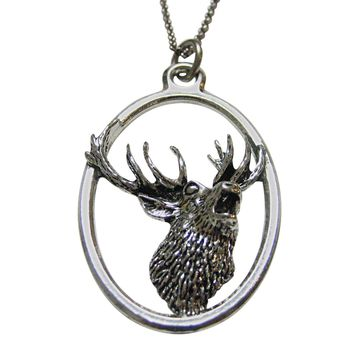 Red Stag Deer Head Large Oval Pendant Necklace