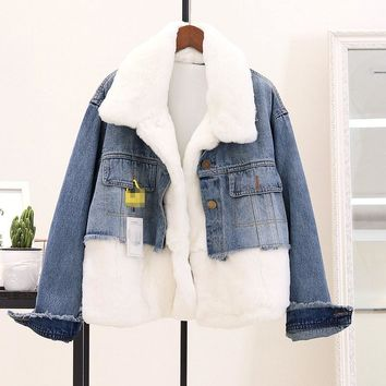 Winter Women Faux Fur Jacket Turn-Down Collar Fashion Long Sleeve Spliced Coat Parka Women Loose Denim Jacket Streetwear