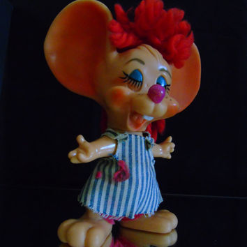 Hillbilly Big Eared Country Girl Mouse Still Bank, 1970 Roy Des of FL Advertising Novelty, Plastic Mouse Bank, Credit Union Promo Piggy Bank