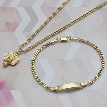 Gold Layered Women Ball Necklace and Bracelet, by Folks Jewelry