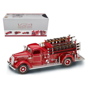 1938 Mack Type 75 Fire Engine Red with Accessories 1/24 Diecast Model Truck by Road Signature