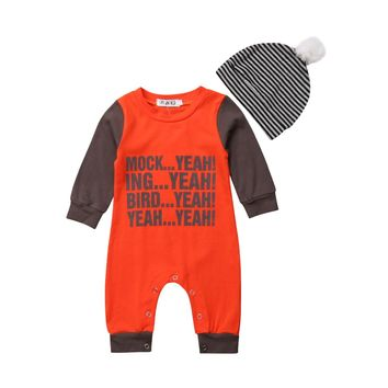 Newborn Infant Baby Boy Girl Romper Red Bodysuit Long Sleeve Jumpsuit+Stripes Beanie Cap 2PCS