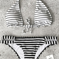Cupshe Stripe World Halter Bikini Set
