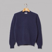 Jamieson's Brushed Lambswool Crew Neck (Admiral Navy) | Oi Polloi