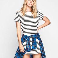 Full Tilt Striped T-Shirt Dress Black/White  In Sizes