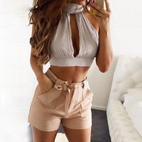 Comfortable Summer Beach Hot Bralette Stylish Lace Chiffon Hot Sale Sexy Backless Tops Women's Fashion Vest [9776055567]