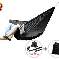 Yes4All Ultra Light Hammocks - Double - Black with Tree Strap - ²MV81Z