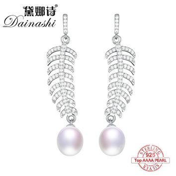 Dainashi luxury 925 Sterling silver natural freshwater pearl snow flower trendy drop earrings fine jewelry for wedding with CZ