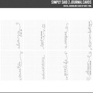 Simply Said 2 Digital Journal Cards - 3x4 project life inspired printable scrapbooking journaling note cards  - instant download - CU OK