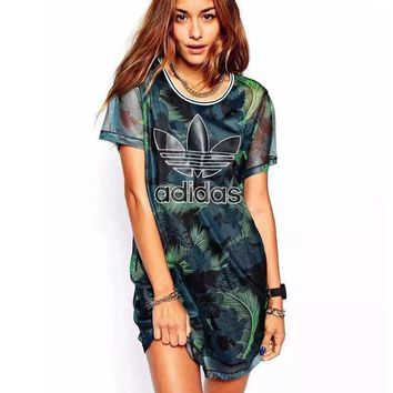 Adidas Fashion Green Leaves Feather Movement Leisure Round Neck Short Sleeve T Shir Dress