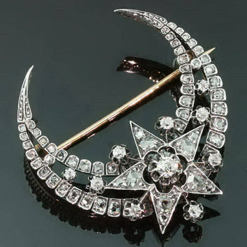 Antique diamonds crescent moon star brooch Victorian Era
