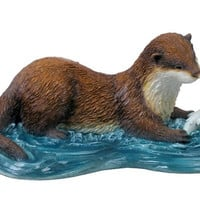 Otter Catching Fish Statue - 8384