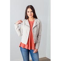 Asymmetrical Zip Jacket - Dove Grey
