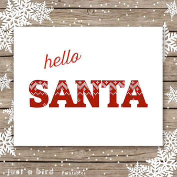 Hello Santa, holiday sign, Christmas printable sign, norwegian christmas print, Christmas sign, red nursery holiday print