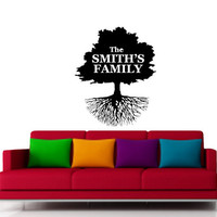 Custom Family Name Decal with Family Tree Design -Vinyl Decal - Wall Art - Wall Decoration - Wall Decal