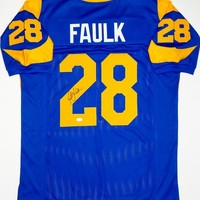 Marshall Faulk Signed Autographed St. Louis Rams Football Jersey (JSA COA)