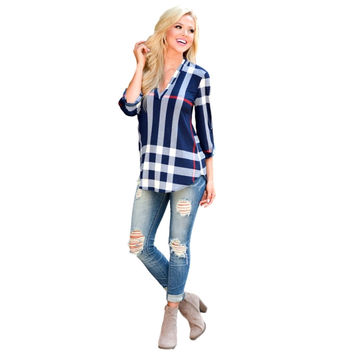 Women's Casual 2/3 Sleeve V-Neck Plaid shirts Pullover Top Plus Size