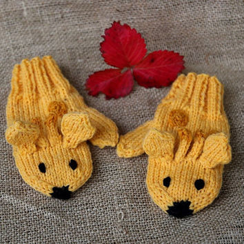 Kids mittens giraffe, handknit gloves for children 4-6 years, one-of-a-kind, stocking stuffers, winter fashion for kids