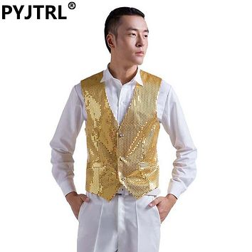 Mens Wedding Stage Show Gold Shiny Sequins Waistcoat Blue Black Silver Pink Rose Yellow Suit Vest Gilet Homme Classic Vests