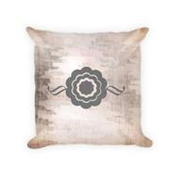 Ornamental Floral Cotton/Poly Throw Pillow