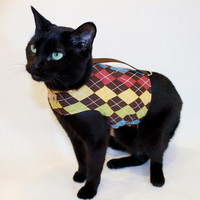 CoolCats Brown Argyle Cat Harness
