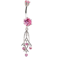 925 Sterling Silver Pink CZ Dangle Chandelier Belly Ring | Body Candy Body Jewelry