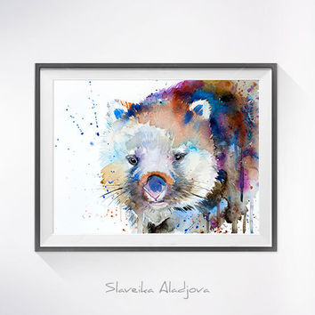 Wombat watercolor painting print, Wombat art, animal art, animal watercolor, Wombat illustration, Wombat painting, safari art, art print