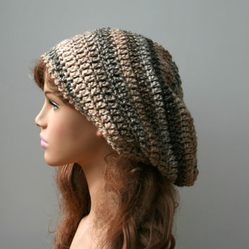 Neutral Caramel slouchy hat, Slouchy beanie, slouch woman beanie, beige brown handmade hat