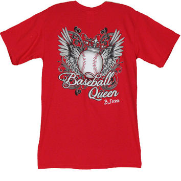 Bjaxx Baseball Queen Crown Wings Sports Girlie Bright T Shirt