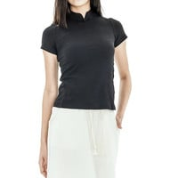 Mandarin Collar Cotton Top