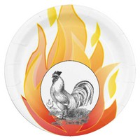 Vintage fire rooster illustration paper plate