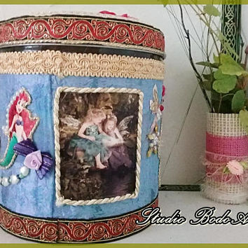 "Little Mermaid box ""Fairy Tales"". Treasure box. Toy box .Kids room storage. Fantasy kingdom pattern. Stash box. Girls bedroom decoration."
