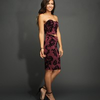 Sale-burgundy Floral Cutout Midi Dress