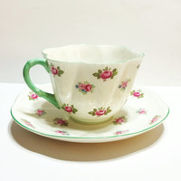 ON SALE Vintage Bone China Tea Cup, Shelley Tea Cup, Dainty, Rosebud, Mother's Day Gift, Bridal Shower, Wedding
