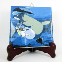 Wall art collectible tile Totoro flying handmade in Italy Studio Ghibli collectible decor Hayao Miyazaki japanese manga Mod.14