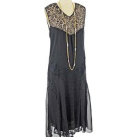 1920s Black Silk and Lace Cocktail Dress-M