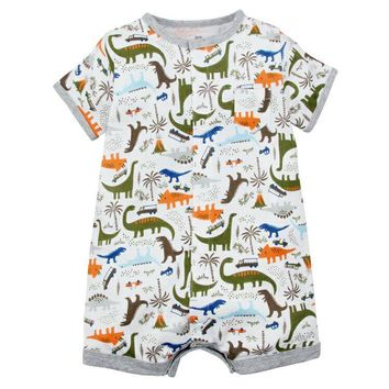 New Infant Baby Boys Clothes Cartoon Animal Short Sleeve Rompers Newborn Baby Cotton Clothing Toddler Boys Roupas Pajamas