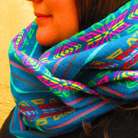Aztec Scarf, Tribal Scarf, Teal Blue Scarf, Infinity Scarf, Loop Scarf, Circle Scarf, Chunky Scarf, Multi Colored