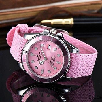 Rolex Women Trending Fashion Braided Quartz Movement Watch G