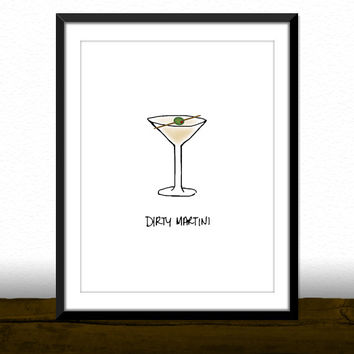 Dirty Martini Cocktail Bar Kitchen Illustration Print [Printable Typography Art Poster] Digital Download Instant Print 8 x 10