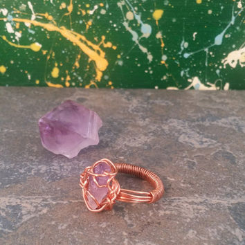 Free Lace Raw Amethyst ring (copper)